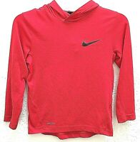 NIKE Youth Hoodie Small Red Boy's Girls's Pullover Sports Dri Fit Light Weight