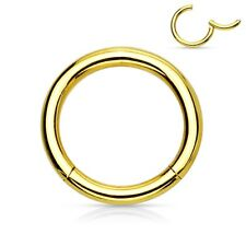 "Segment Hinged Captive Ring 16 Gauge 1/2"" Gold Plate Body Jewelry"