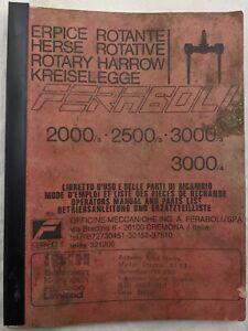 Original Feraboli Rotary Harrow Operators Manual & Parts List, 2000, 2500, 3000