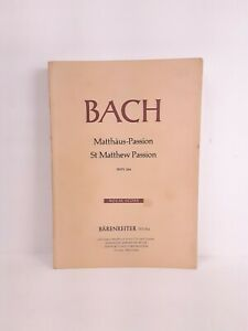 Bach Johannes Passion St Matthew Passion BWV 244 Klavierauszug Vocal Score 1974