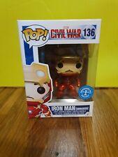 💕💖Marvel Funko Pop Iron Man Unmasked Civil War #136 Tony Stark + Protector💖💕