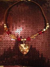 LADIES STUNNING RED & BEIGE QUARTZ CRYSTAL HEART NECKLACE