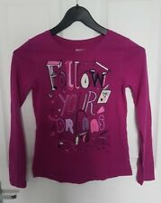 "Lovely GAP Girls Long Sleeved Top Age 8 Purple "" follow your dreams "" Print"