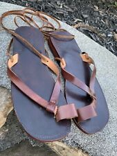 S Finga Handmade  Leather Sandals Lace Up Leg Tie Ankle SZ 37 Brown Leather ECU