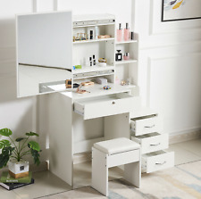 White Dressing Table Makeup Jewellery Table Desk Mirror Stool Set Vanity Sets