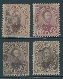 Canada Stamps 1859 10¢ Prince Albert Used 4 Different Shades Scott # 17
