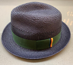 PS Paul Smith Men Trilby Hat Straw Woven Navy Small New With Tag Made In England