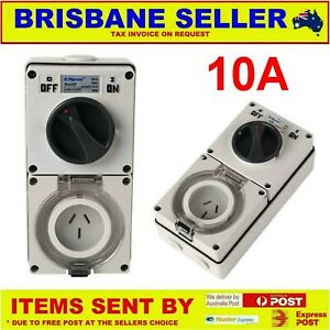 10 AMP COMBINATION SWITCHED SOCKET OUTLET IP66 POWER POINT AUSTRALIAN APPROVED