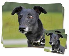 Black Greyhound 'Yours Forever' Twin 2x Placemats+2x Coasters Set in , AD-GH8YPC