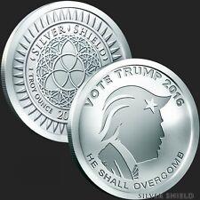 2017 Silver Shield Vote Trump 1 oz .999 Silver Bu Incused Round USA Bullion Coin