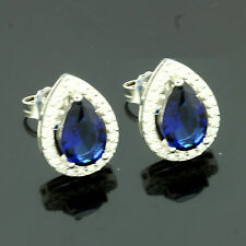 Sterling Silver Pear Sapphire Zirconia Earrings Gift Boxed