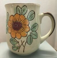 Vintage Brown Stoneware Orange Flower Coffee Mug
