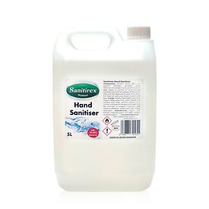 Hand Sanitizer Sanitiser 5 Litre 5L 80% Alcohol Liquid kills 99.99% bacteria UK