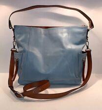 Bostanten Blue & Brown leather hobo crossbody bag NEW NWOT