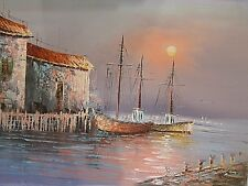 "New 24""x36"" Original Seascape Landscape Ocean Boats Dock Buildings Oil Painting"