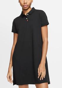 Nike Golf Womens Polo Dress Black BV0193 010 Dri Fit Collar Short Sleeve Pockets