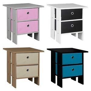 2 Tier 2 Drawer Wooden Bedroom Bedside Table Nightstand Living Room Side Cabinet