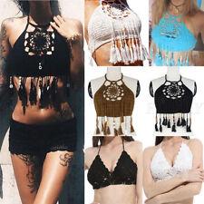 Women Crochet Lace Bralette Knit Bra Boho Beach Bikini Halter Cami Tank Crop Top
