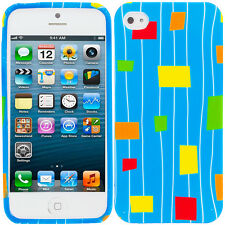 For Apple iPhone 5S 5 TPU Design Rubber Soft Skin Case Cover Blue Squares