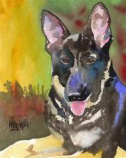 German Shepherd Art Print Signed by Artist Ron Krajewski 8x10