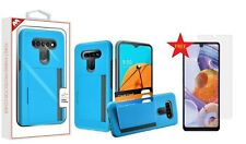 For LG Stylo 6 New Wallet Blue 3Card Holder Rubber Protective Hybrid Cover+GLASS