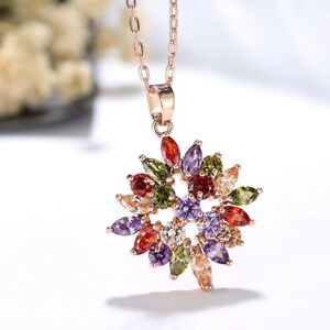 European Stylish Mona Lisa Necklace Colored Garnet Morganite Topaz Gift Pendants