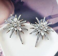 Sparkling vintage gold & white crystal stone starburst stud statement earrings