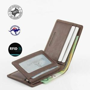 Genuine Men's Rugged Leather Small Slim RFID Wallet Tan Colours New