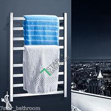 Bathroom Electric Heated Towel Rack Warmer Rail 8 Bars Stainless Steel Square