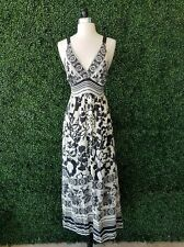 Hale Bob Silk Black White Floral Striped Printed Maxi Dress Revolve Clothing S