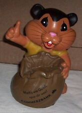 Rare Vintage Piggy COIN BANK Commerzbank Germany Plastic CHIPMUNK HAMSTER Goldi