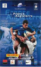 La FRANCE v ANGLETERRE 2004 RUGBY PROGRAMME