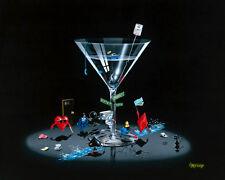 "**Michael Godard-""TEXAS HOLD 'EM""-Las Vegas-Poker-Cards-Gambling-Martini-Art*"