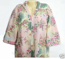Womens Vintage Robe Peacock Design Zip Front Size Small Sears 8 10 Made in USA