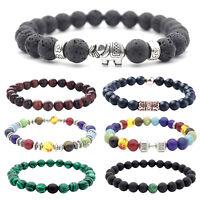 8mm Chakra Healing Natural Stone Gem Bead Bracelet Men Women Jewelry Hand Bangle