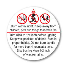 """2"""" ASTM Compliant Candle Warning Labels Alert Symbol 24 to 500 Wax Melt Sticker"""