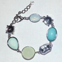 Light sky blue clear rhinestone cabochon silver tone lobster clasp bracelet