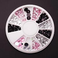 DIY Nail Art Tips Charm Gems Crystal·Glitter Rhinestones 3D Decor Wheel Bride A+