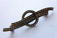 Wunderschöne seltene dekorative antike Brosche Silber vergoldet Markasite