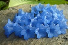40 pce Blue Acrylic Bell Flower Beads 16mm x 12mm Jewellery Making Hat Craft