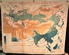 Original 1921 Philips' Comparative WALL Atlas ~ ASIA Summer CLIMATE ~ Rare Map