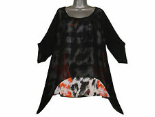 Plus Size Assymetrical Red Abstract Print Chiffon Layered Top 16
