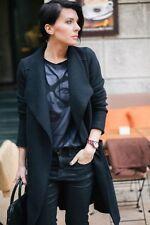 NUEVO CON ETIQUETA Zara Negro Abrigo De Lana Bolsillos Delanteros DRAPEADO Chal