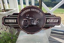 Nostalgie Blechschild Bild Service Station Bike Legends Never Die 29x60 cm Retro