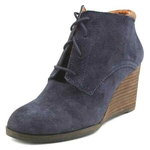 Lucky Brand Sumba Blue Suede Ankle Boot Leather Casual Booties Women 9.5 EUC