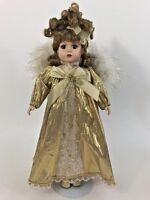 "16"" Brass Key Christmas Angel Porcelain Doll with Stand Great Conduction"