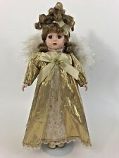 """16"""" Brass Key Christmas Angel Porcelain Doll with Stand"""