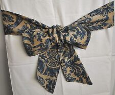 "Bow Tie Backs made w/ Ralph Lauren Landing Navy Blue Damask Fabric 100"" x 4"" New"