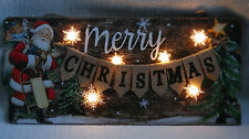 Wood Hanging Plaque Merry Christmas Santa & LED Light Up Snowflake  45cmx20 cm
