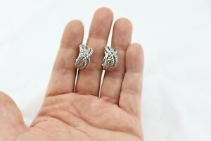 JUDITH RIPKA sterling silver CZ HOOP earrings w/ Omega Backs 1 POST BROKEN